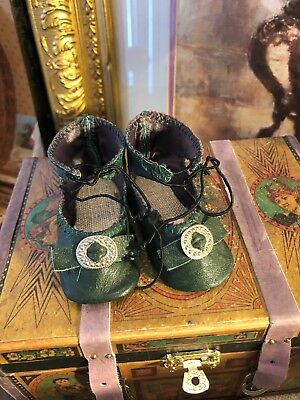 ~ Wonderful!! Antique Style Vintage Green Leather Toe Buckle Doll Shoes~