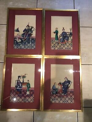 4 Large  Framed Antique Chinese Rice Paper Paintings ,pith .