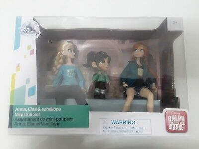 Anna Elsa Vanellope Princess Mini Doll Set Disney Store Wreck It Ralph In Hand