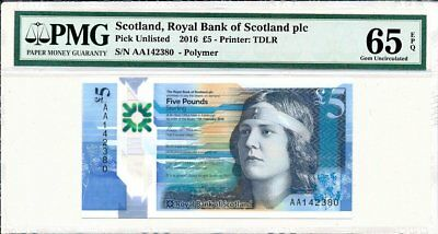 Royal Bank of Scotland Plc Scotland  5 Pounds 2016  PMG  65EPQ