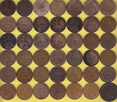 Great Britain  1 Penny  1866 - 1967, lot of 42 different dates................40