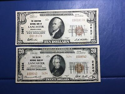 1929 $20.00  And $10 National Bank Note Lancaster