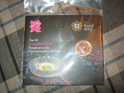 London 2012 Olympic Handover to Rio Royal Mint  £2 Coin Pack Rare