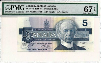 Bank of Canada Canada  $5 1986 S/No.8827763 PMG  67EPQ