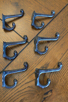 Lot of 6 Vintage Cast Iron Coat Hooks Out of School with Screws FREE US SHIP
