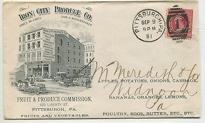 """PITTSBURGH PA #220 Imprint ADVERTISING """"Iron City Produce Co"""" Widnoon PA"""