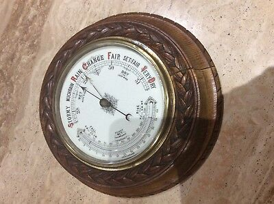 Lovely Victorian Medium Oak Aneroid Barometer and Curved Thermometer