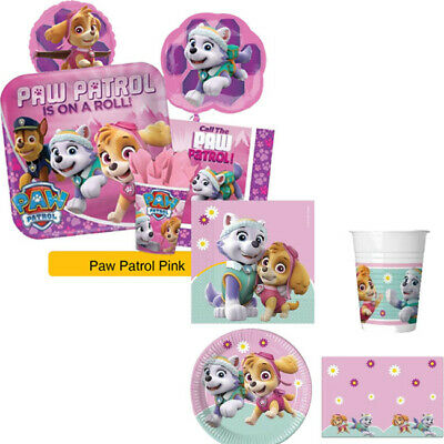 PAW PATROL SKYE & EVEREST Pink/Girls Birthday Party Range - Tableware Supplies