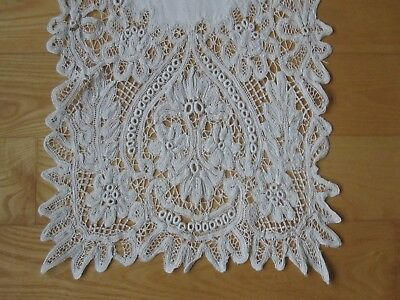 Antique Lace Table Runner Victorian Handmade Ivory Linen Battenburg Lace As Is