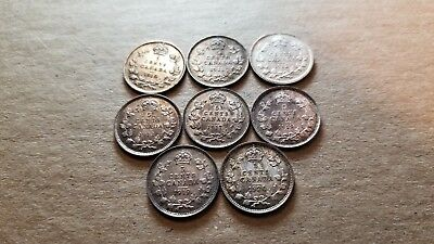 Lot Of 8 Canadian Silver Half Dimes 5C 1910, 11, 12, 13, 17 ,18, 19 & 1920 Au/bu