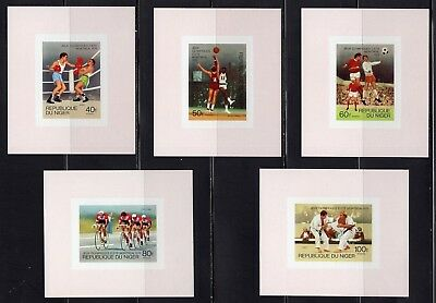 Olympics Montreal 1976 Niger Set of 5 Imperf Deluxe Sheets MNH