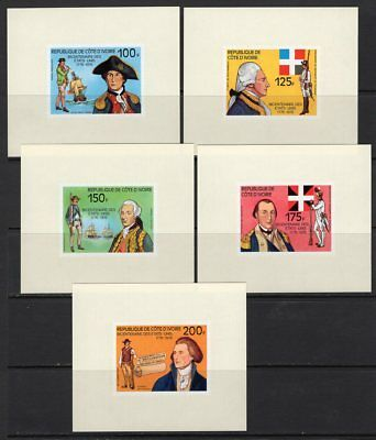 Ivory Coast 1976 US Bicentennial Set of 5 Imperf Deluxe Sheets MNH