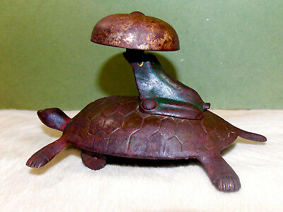 Antique Cast Iron TURTLE/FROG/BELL PULL TOY - 1800s - Very Unusual & Interesting