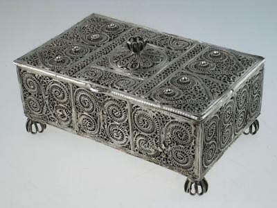 Large Antique Islamic Filigree Solid Silver  Box Circa 1900