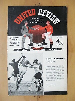 MANCHESTER UNITED v WOLVES 1957/1958 *Munich Season Programme +Token In VG Cond*