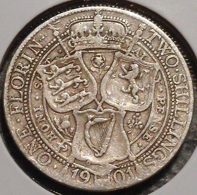 British Florin - 1901 - Queen Victoria - $1 Unlimited Shipping