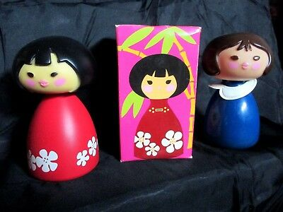 Two(2) VINTAGE Avon SMALL WORLD Pacific Rim Spray COLOGNE & Shampoo DOLL BOTTLES