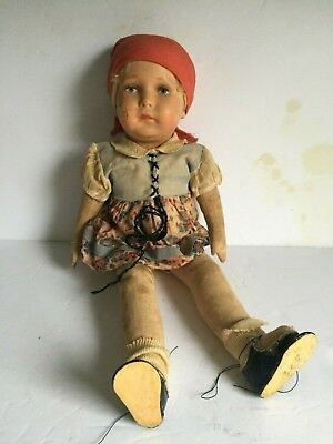 """Antique German Cloth Doll Painted COMPOSITE Head Original Clothes """"AS IS"""" 16.75"""""""