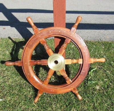 "25""Nautical Wooden Ship Steering Wheel Pirate Decor Wood Brass Fishing Wall Boat"