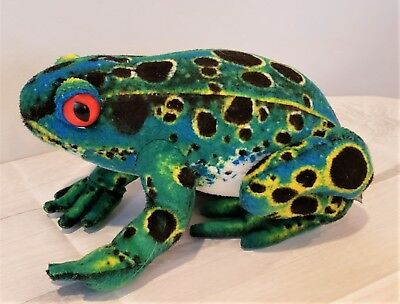"""Ganz Creepy Frog H10640 Green and Blue Rain Forest Frog, 9"""" long"""