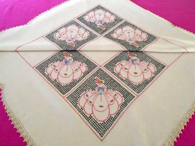 Exceptional Art Deco Hand Embroidered Crinoline Ladies Large Linen Tablecloth