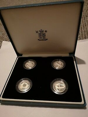 2003 Royal Mint Silver Proof £1 Coin Pattern Set - Bridges - Cased UK FREE POST