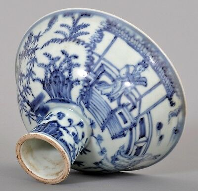 Antique Chinese porcelain Ming dynasty Xuande mark Blue & white stem bowl cup