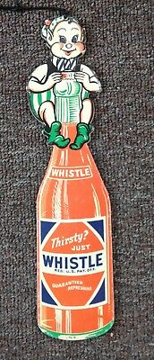 """1950s WHISTLE ORANGE """"ELF"""" Die Cut Double Sided FAN PULL SIGN...NOS & NICE!"""