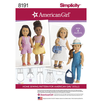 """New Simplicity Sewing Pattern 8191 for  18"""" Doll Clothes Outfits FREE SHIPPING"""