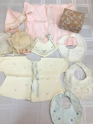 Lot Vintage Baby Infant Clothing Hand Made Bonnets Bibs Tops Box 1940s 1950s