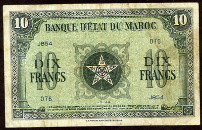 Morocco 10 Francs 1944  Note!!!!! Vf-Xf