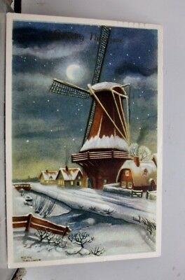 Greetings Winter Windmill Postcard Old Vintage Card View Standard Souvenir Post