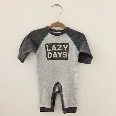 Rene Rofe Baby Grey Unisex w/ Suede Graphic Detail   size 0-3