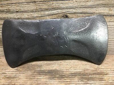 """Vintage OLD LARGE 4 POUND DOUBLE BIT AXE HEAD 10 1/4"""" Long w/ 5"""" Beveled Blades"""