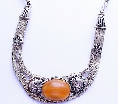 Antique Chinese Tibet Silver & Butterscotch Amber RARE Necklace