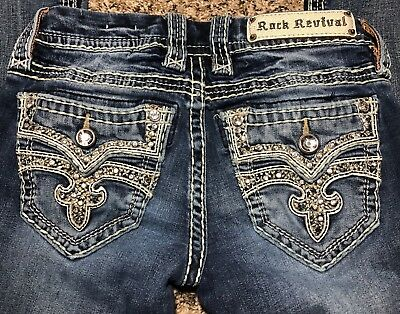 BUCKLE ROCK REVIVAL LIGEIA Boot Rhinestone Low Rise Thick Stitch Jeans 24x32