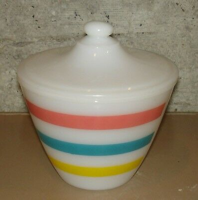 Vintage FIRE KING Red Green Yellow COLONIAL STRIPE Covered Grease Jar Hocking