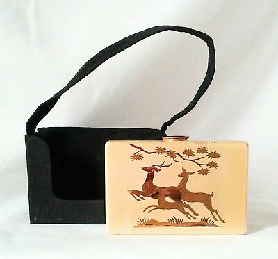 Vint Elgin American Art Deco Look Compact with Purse, Blush, Lipstick, Leap Deer