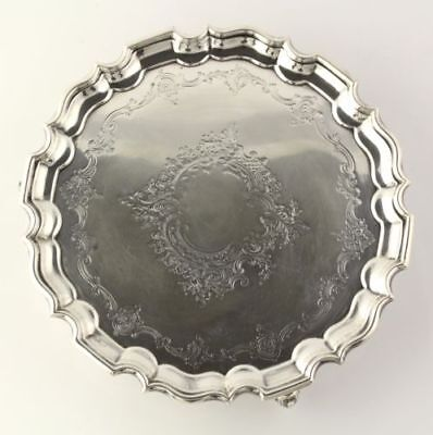 Manoah Rhodes & Sons Bradford Limited Silver Tray - Sterling Round Serving 8""