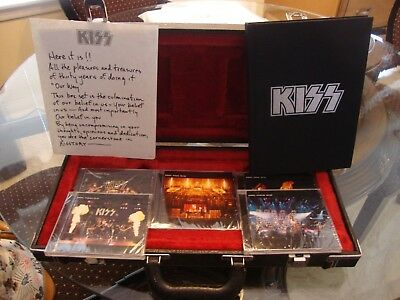 2001 KISS DEFINITIVE 5-CD BOXED SET WITH BOOK , CD's ARE SEALED - IN GUITAR CASE