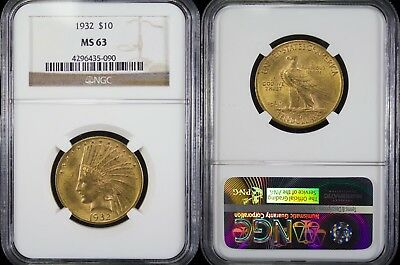 1932 $10 Indian Head ~ NGC MS63 ~ 90% Gold ~ Gold Eagle