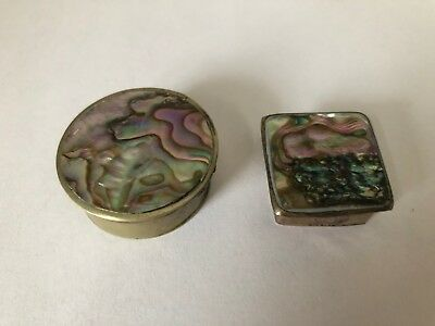 Pair of 2 Antique Vintage SNUFF PILL BOXES Signed ALPACA Silver Abalone Shell