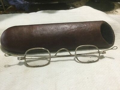 Antique Oval Lens Granny Glasses With Case
