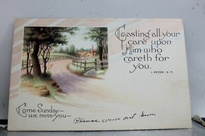 Christian Come Sunday We Miss You Postcard Old Vintage Card View Standard Post