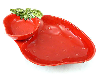 Torrence California Originals Red Strawberry Chip Dip Serving Tray USA #8419