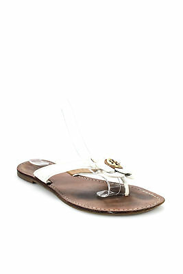 eb072dbbc7e8 Tory Burch Womens Floral Slip On Flip Flop Sandals Patent Leather White Size  8