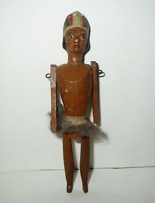 Rare Antique 1800s WOOD PEG DOLL Grodnertal Germany - Native AMERICAN INDIAN