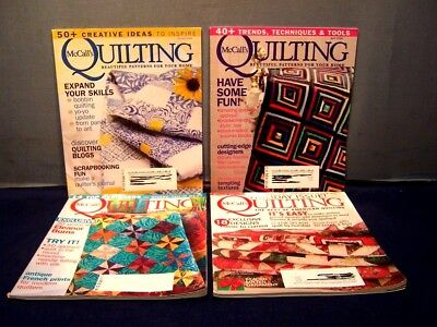LOT of 4 McCALL'S QUILTING MAGAZINES FEB, APR, JUNE 2008 DEC 2009 QUILT PATTERNS