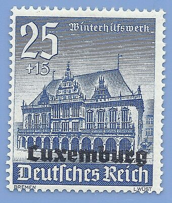 Nazi Germany 3rd Reich 1940 Nazi Occupation Luxemburg Overprint 25 Stamp WW2 ERA