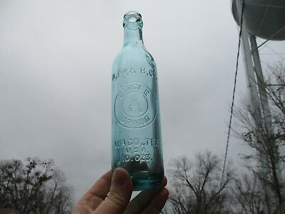 Rare Nice Deep Blue Embossed A.m.& B. Co. Circle A Dr Pepper Bottle Waco Texas